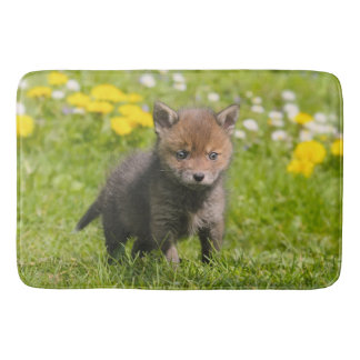 Cute Fluffy Red Fox Cub Wild Baby Animal -large Bathroom Mat