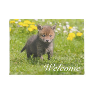 Cute Fluffy Red Fox Cub Wild Baby -  Entry Welcome Doormat