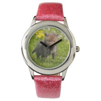 Cute Fluffy Red Fox Cub Wild Baby Photo Strapwatch Watch