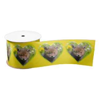 Cute Fluffy Red Fox Wild Baby Animal Photo heart / Satin Ribbon