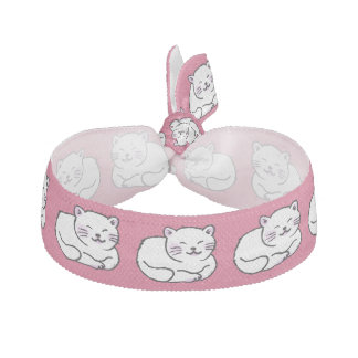 cute fluffy white & pink cat cartoon hair tie