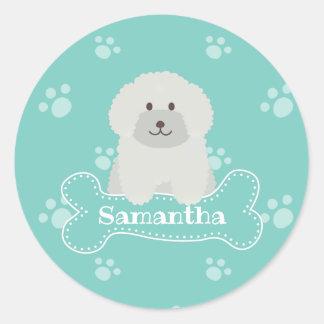 Cute Fluffy White Poodle Puppy Dog Aqua Monogram Classic Round Sticker