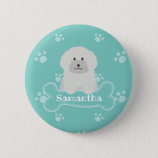 Cute Fluffy White Poodle Puppy Dog Lover Monogram 2 Inch Round Button