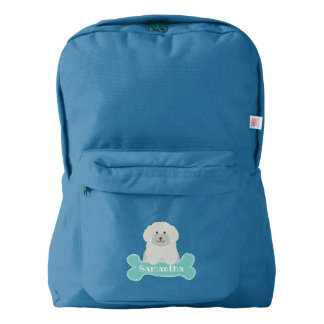 Cute Fluffy White Poodle Puppy Dog Lover Monogram Backpack