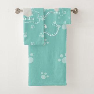 Cute Fluffy White Poodle Puppy Dog Lover Monogram Bath Towel Set