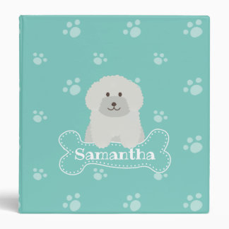 Cute Fluffy White Poodle Puppy Dog Lover Monogram Binders
