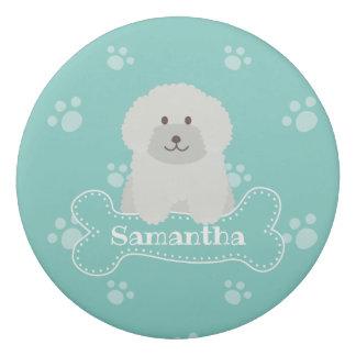 Cute Fluffy White Poodle Puppy Dog Lover Monogram Eraser