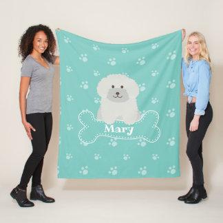Cute Fluffy White Poodle Puppy Dog Lover Monogram Fleece Blanket