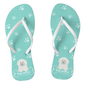 Cute Fluffy White Poodle Puppy Dog Lover Monogram Flip Flops