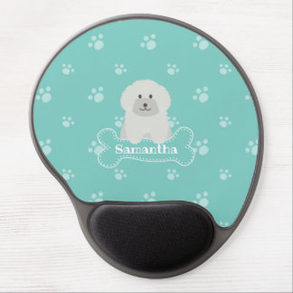 Cute Fluffy White Poodle Puppy Dog Lover Monogram Gel Mouse Pad