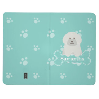Cute Fluffy White Poodle Puppy Dog Lover Monogram Journal