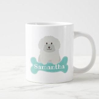 Cute Fluffy White Poodle Puppy Dog Lover Monogram Large Coffee Mug