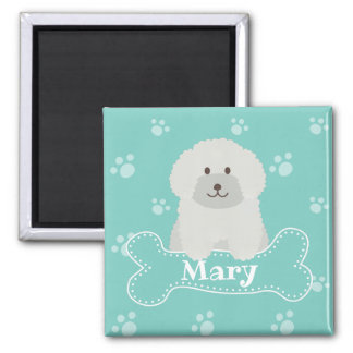 Cute Fluffy White Poodle Puppy Dog Lover Monogram Magnet