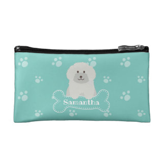 Cute Fluffy White Poodle Puppy Dog Lover Monogram Makeup Bag