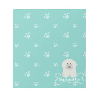 Cute Fluffy White Poodle Puppy Dog Lover Monogram Notepad