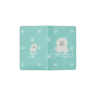 Cute Fluffy White Poodle Puppy Dog Lover Monogram Pocket Moleskine Notebook