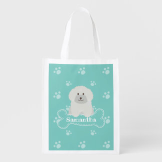 Cute Fluffy White Poodle Puppy Dog Lover Monogram Reusable Grocery Bag