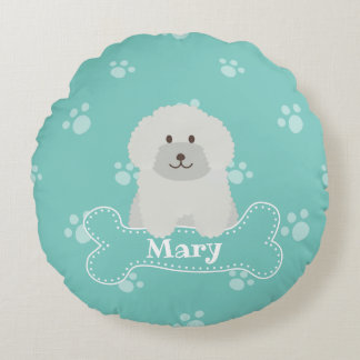 Cute Fluffy White Poodle Puppy Dog Lover Monogram Round Pillow
