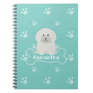 Cute Fluffy White Poodle Puppy Dog Lover Monogram Spiral Notebook