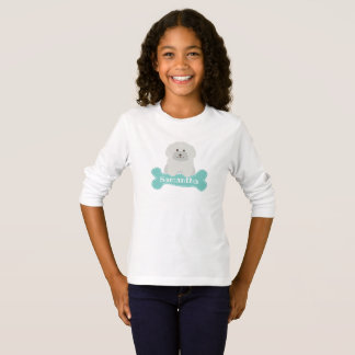 Cute Fluffy White Poodle Puppy Dog Lover Monogram T-Shirt