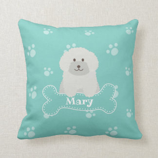 Cute Fluffy White Poodle Puppy Dog Lover Monogram Throw Pillow