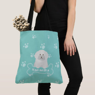 Cute Fluffy White Poodle Puppy Dog Lover Monogram Tote Bag