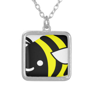 Cute flying bumblebee silver plated necklace