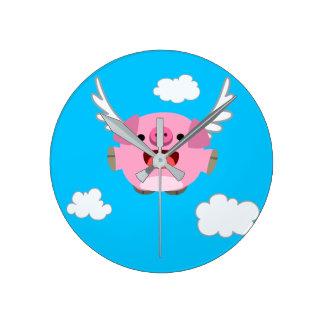 Cute Flying Cartoon Pig Round Clock