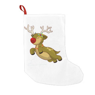 Cute Flying Christmas Reindeer With Clouds Small Christmas Stocking