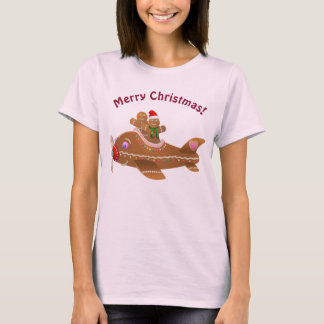 Cute Flying Gingerbread Airplane T-Shirt