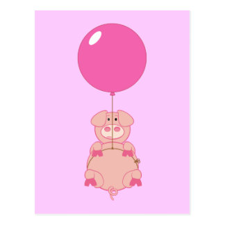 Cute Flying Pig and Balloon Postcard