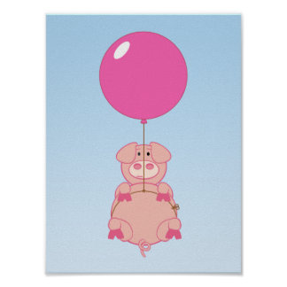 Cute Flying Pig and Balloon Poster