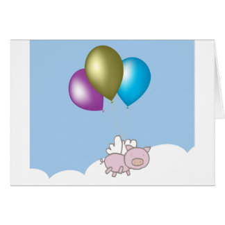 Cute Flying Pig and Balloons Art Card