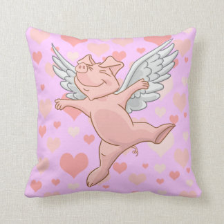 Cute Flying Pig and Pink Hearts Throw Pillow