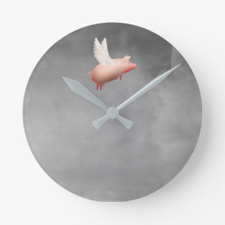cute flying pig wall clock