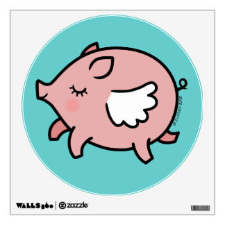 Cute Flying Pig Wall Decal