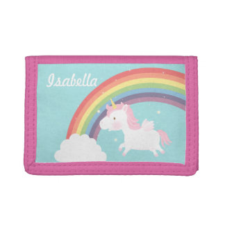 Cute Flying Unicorn Rainbow For Girls Tri-fold Wallet
