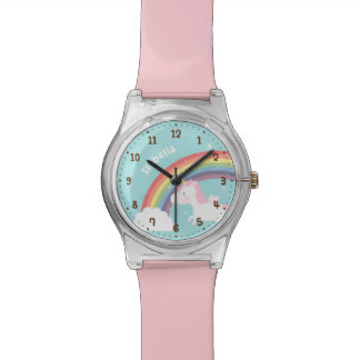 Cute Flying Unicorn Rainbow Girls Name Watch