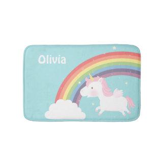 Cute Flying Unicorn Rainbow Girls Room Decor Bathroom Mat