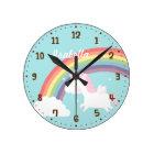 Cute Flying Unicorn Rainbow Girls Room Decor Round Clock