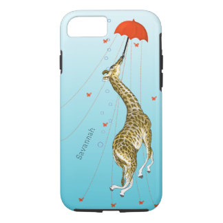 Cute Flying Vintage Giraffe with Umbrella on Aqua iPhone 8/7 Case