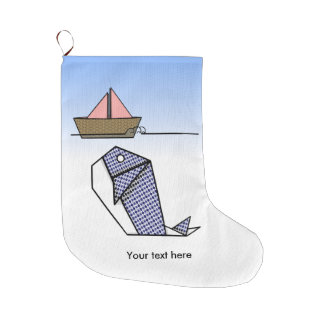 Cute Folder Paper Whale Large Christmas Stocking