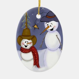 Cute Folk Art Cowboy Snowman Ceramic Oval Ornament