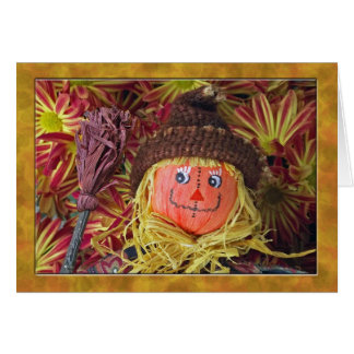 Cute Folk Art Scarecrow with Thanksgiving Poem Card