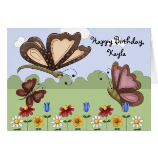 Cute Folk Butterflies and Flowers Child's Birthday Card