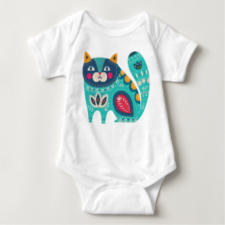 Cute folk cat baby bodysuit