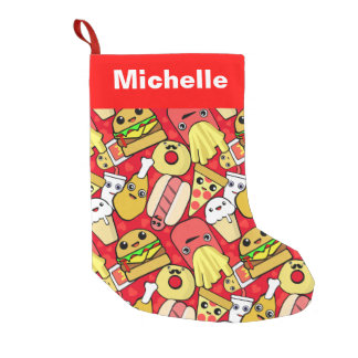 Cute Food Characters Patterned Small Christmas Stocking