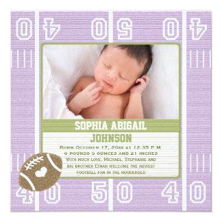 Cute Football Baby Announcement Purple Girl