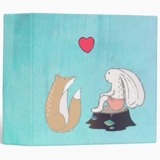 Cute Forest Creatures Fox and Rabbit with Heart Vinyl Binders