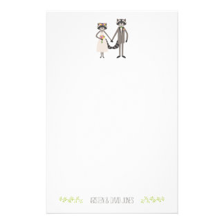 Cute Forest Raccoons Rustic Wedding Personalized Stationery Paper